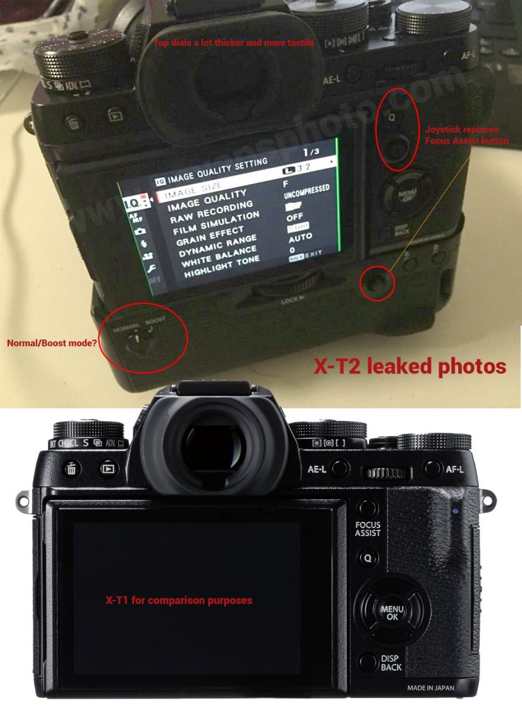 Fuji X-T2 photos leaked (enhanced rear image and comments)
