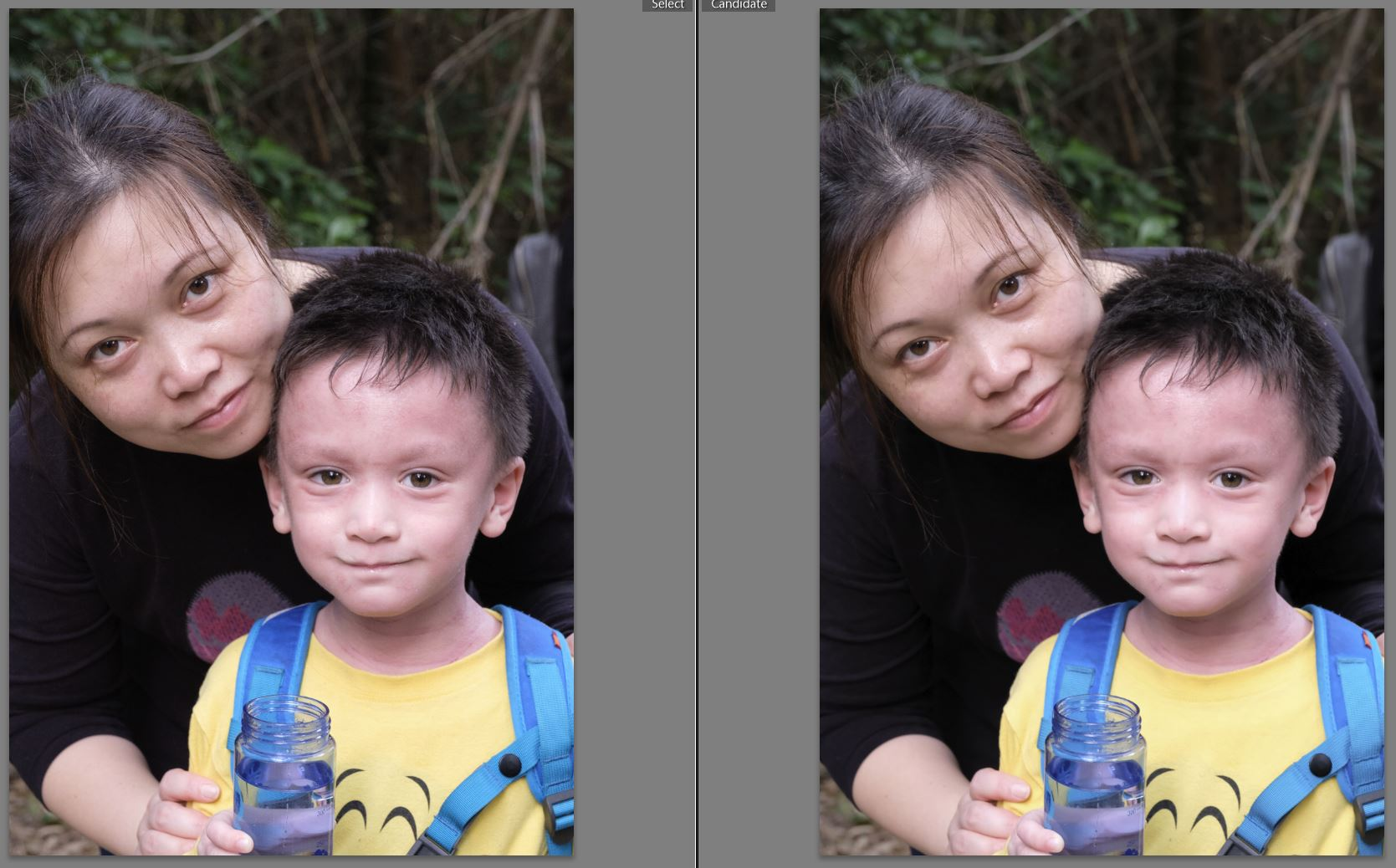 My wife and youngest son. I can't tell which one is jpeg, can you?
