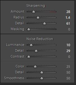 My settings for highly detailed LR sharpening.